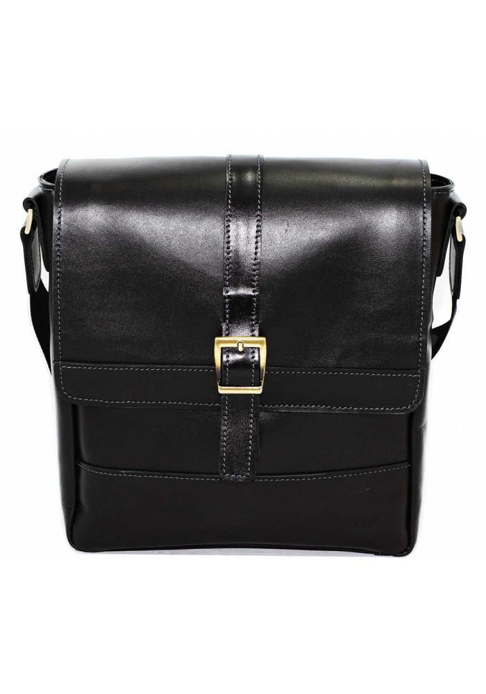 Черная кожаная мужская сумка через плечо Vatto