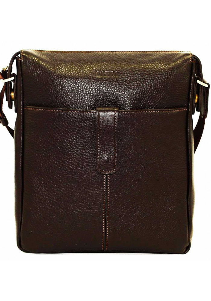 Коричневая глянцевая кожаная мужская сумка через плечо Vatto