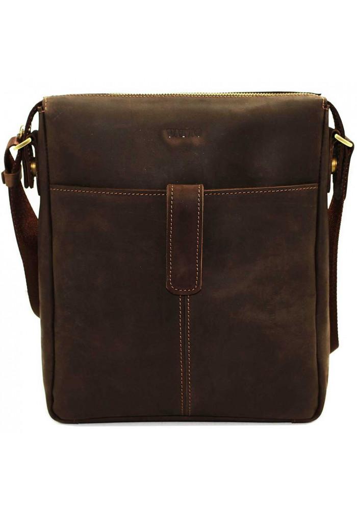 Модная мужская сумка из кожи через плечо Vatto коричневая