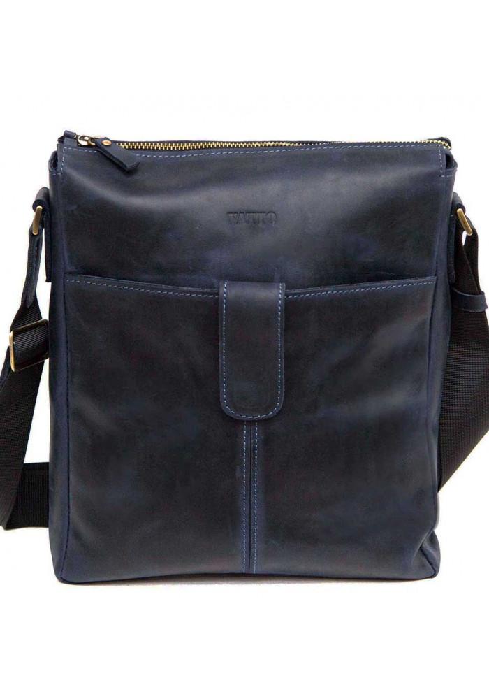 Модная мужская сумка из кожи через плечо Vatto синяя