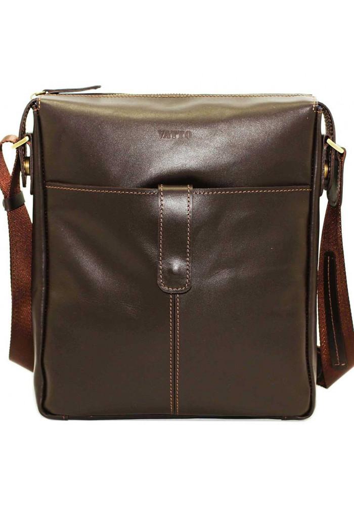 Модная мужская сумка из кожи через плечо Vatto коричневая матовая