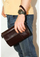 Клатч мужской кожаный Vatto коричневый глянцевый