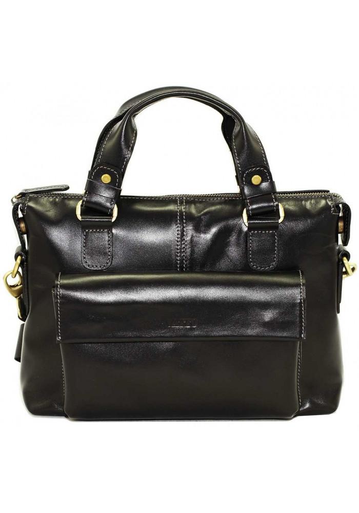 Мужская кожаная сумка черная Vatto с карманом