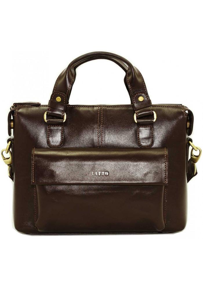 Деловая сумка мужская кожаная Vatto коричневая глянцевая