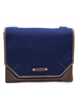 Фото Сумка- мессенджер мужская тканевая Vatto синяя с коричневыми вставками