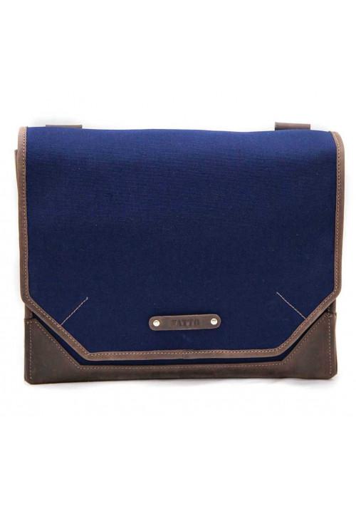 Сумка- мессенджер мужская тканевая Vatto синяя с коричневыми вставками