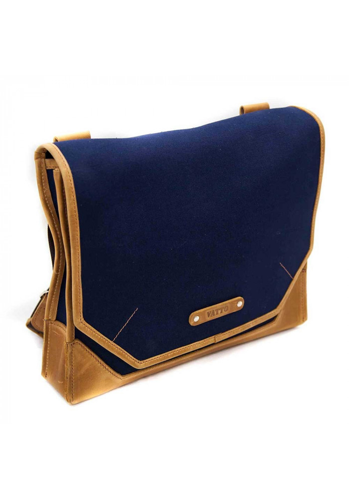 afcd82902c69 ... Сумка- мессенджер мужская тканевая Vatto синяя с коричневыми вставками,  фото №2 - интернет ...