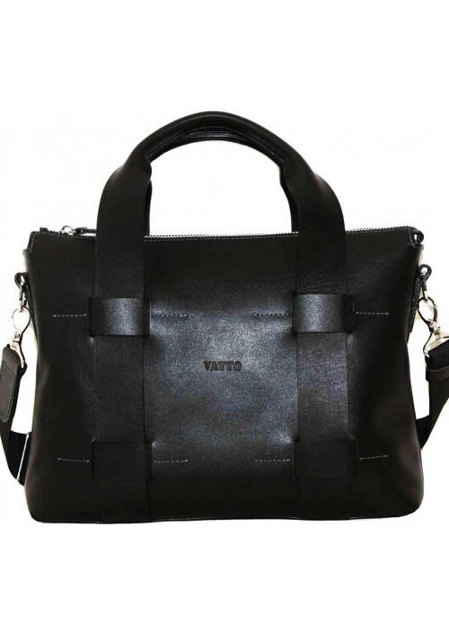 Деловая сумка мужская кожаная Vatto черная глянцевая