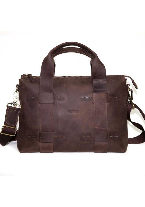 Стильная мужская кожаная сумка Vatto коричневая глянцевая