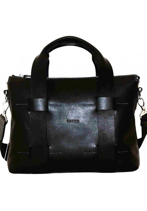 Большая мужская кожаная сумка Vatto черная