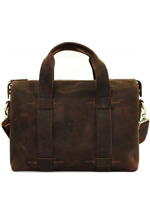 Большая мужская кожаная сумка Vatto коричневая