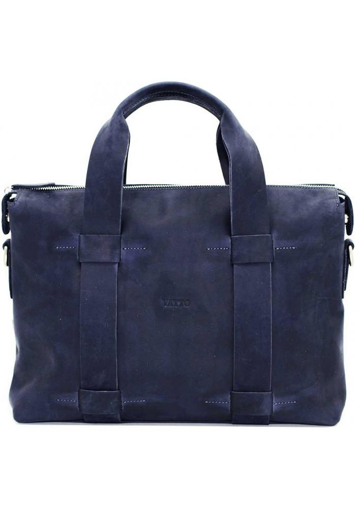 Большая мужская кожаная сумка Vatto синяя