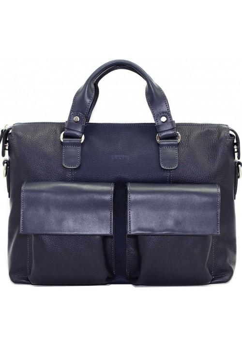 Большая мужская кожаная сумка Vatto синяя матовая