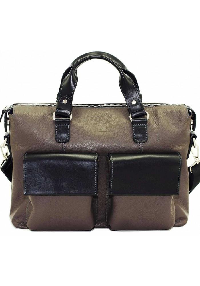 Модная мужская кожаная сумка Vatto из серой кожи