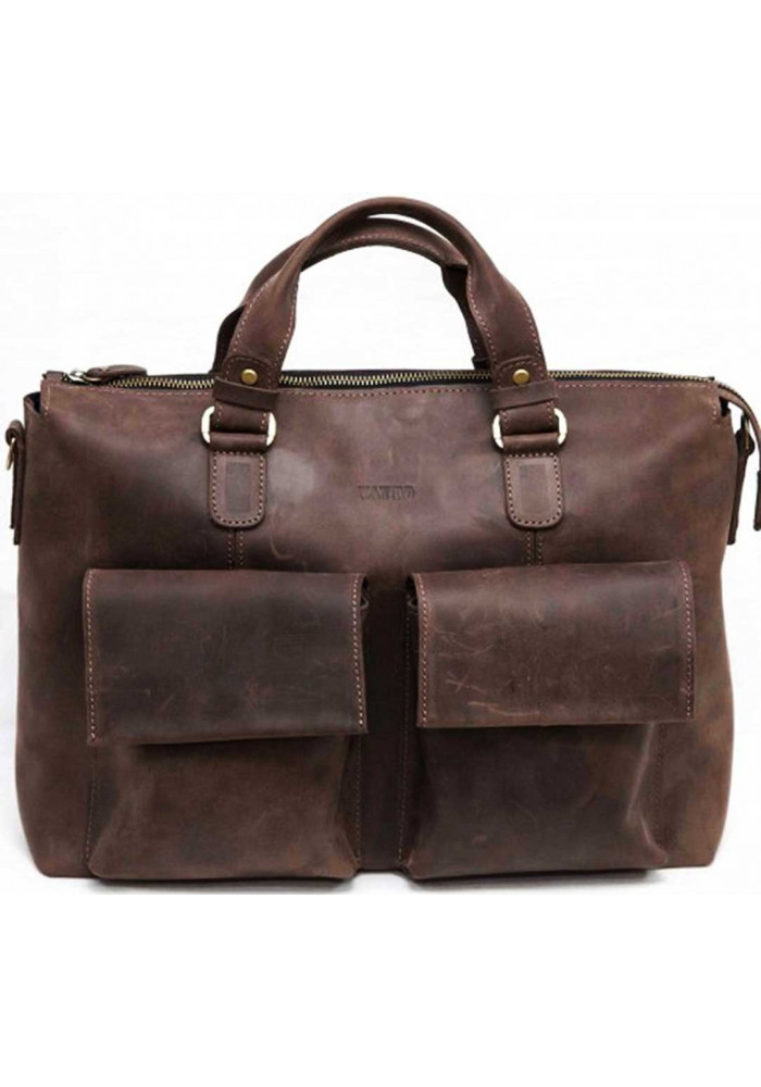 Модная мужская кожаная сумка Vatto из коричневый гладкой  кожи