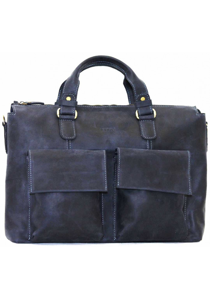 Модная мужская кожаная сумка Vatto из синей кожи
