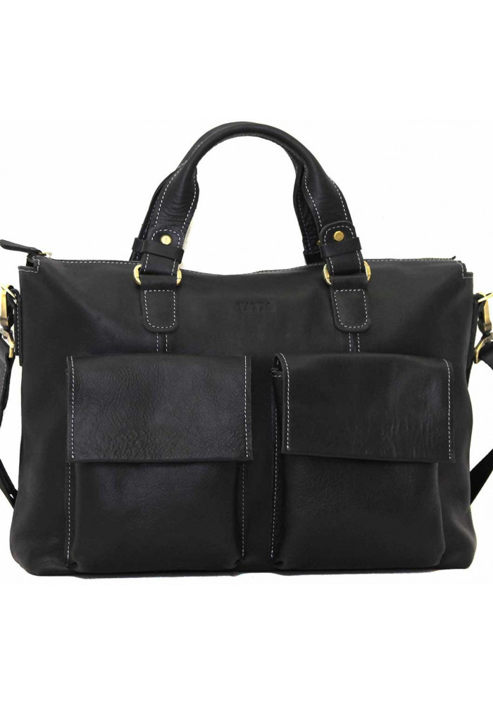 Модная мужская кожаная сумка Vatto из черной гладкой кожи