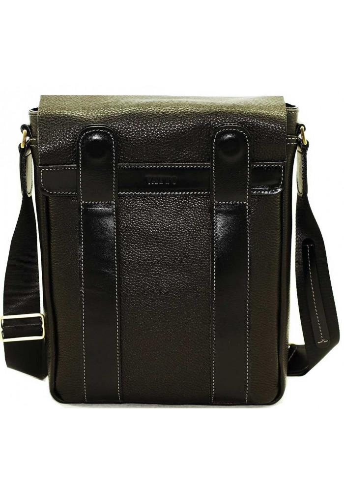 Оригинальная сумка на плечо мужская кожаная Vatto черная