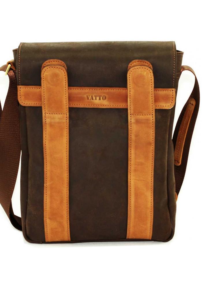 Оригинальная сумка на плечо мужская кожаная Vatto коричневая коричневая