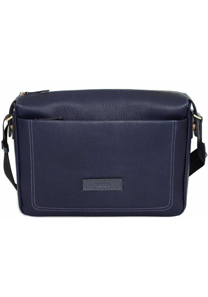Модная мужская кожаная сумка Vatto из синей матовой кожи