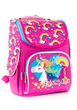 Фото Радужный школьный рюкзак YES H-11 Unicorn blue