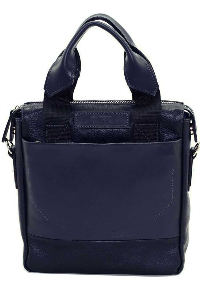 Вертикальная мужская кожаная сумка Vatto синяя