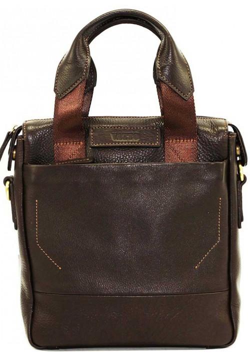 Вертикальная мужская кожаная сумка Vatto коричневая