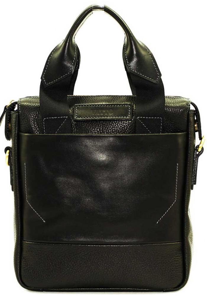 Вертикальная мужская кожаная сумка Vatto черная