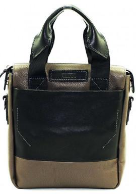 Фото Вертикальная мужская кожаная сумка Vatto серая
