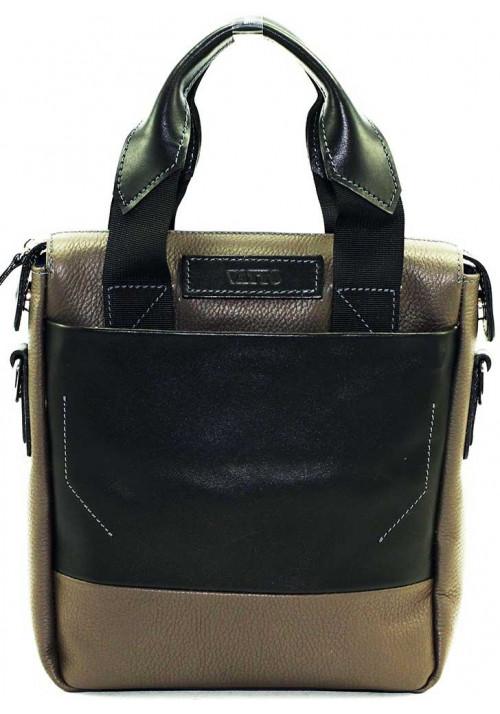 Вертикальная мужская кожаная сумка Vatto серая
