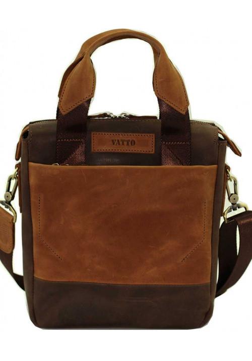 Вертикальная мужская кожаная сумка Vatto коричневая матовая