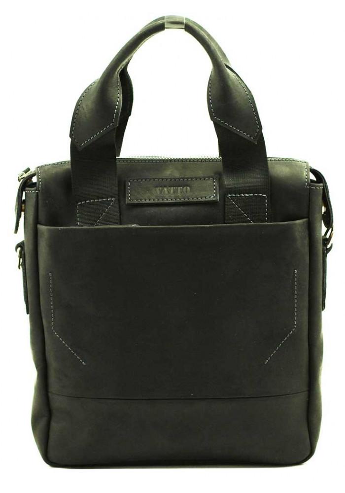 Вертикальная мужская кожаная сумка Vatto черная гладкая