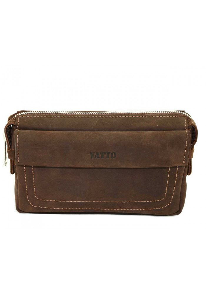 Стильный мужской кожаный клатч Vatto коричневый