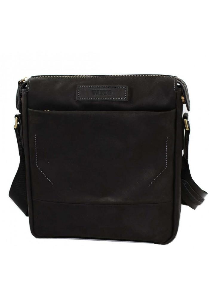 Модная мужская кожаная сумка Vatto черная матовая