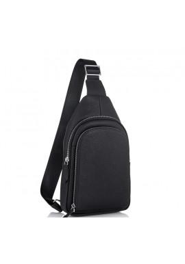 Фото Мужская кожаная сумка-слинг черная Tiding Bag SM8-812A