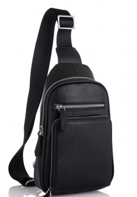 Фото Мужская сумка-слинг кожаная черная Tiding Bag SM8-807A