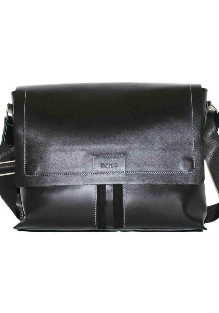 Модная сумка-мессенджер мужская кожаная Vatto черная