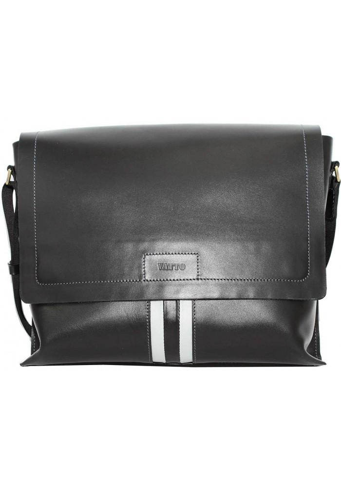 Модная сумка-мессенджер мужская кожаная Vatto черная с белой вставкой