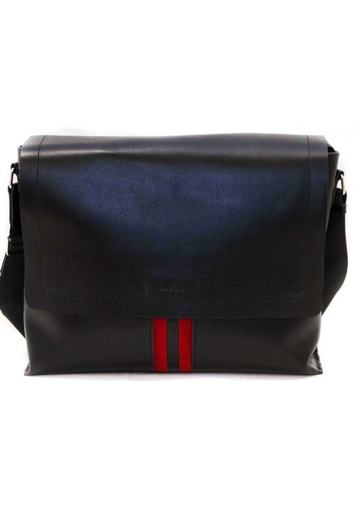 Модная сумка-мессенджер мужская кожаная Vatto черная с красной вставкой