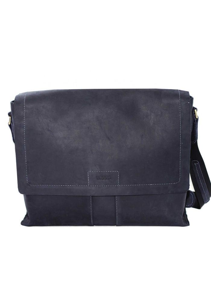 Модная сумка-мессенджер мужская кожаная Vatto синяя матовая