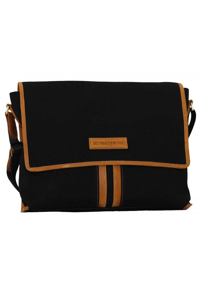 Модная сумка-мессенджер мужская из ткани Vatto черная