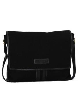 Фото Модная сумка-мессенджер мужская из ткани Vatto черная с черными кожаными вставками