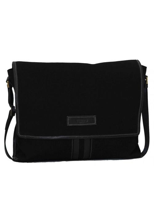 Модная сумка-мессенджер мужская из ткани Vatto черная с черными кожаными вставками