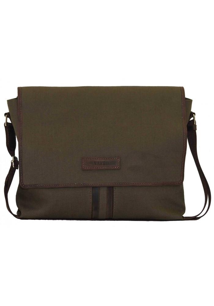 Модная сумка-мессенджер мужская из ткани Vatto цвета хаки