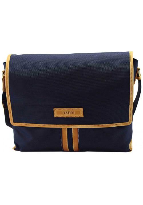 Модная сумка-мессенджер мужская из ткани Vatto синяя с рыжими вставками