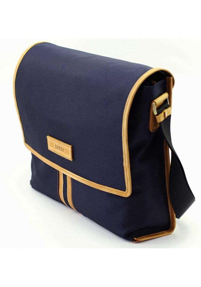 c998a41ff0e5 ... Модная сумка-мессенджер мужская из ткани Vatto синяя с рыжими вставками,  фото №2 ...
