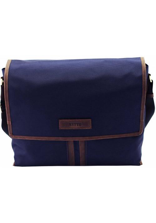 Модная сумка-мессенджер мужская из ткани Vatto синяя с коричневыми вставками