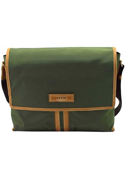 Модная сумка-мессенджер мужская из ткани Vatto зеленая