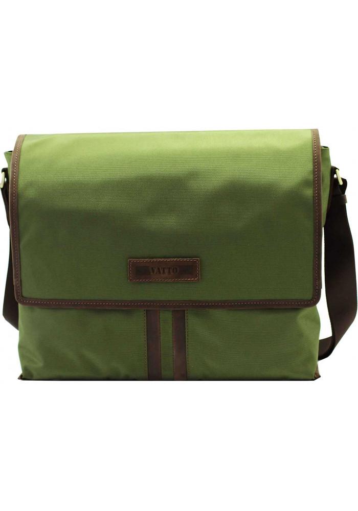 Модная сумка-мессенджер мужская из ткани Vatto зеленая с коричневыми вставками