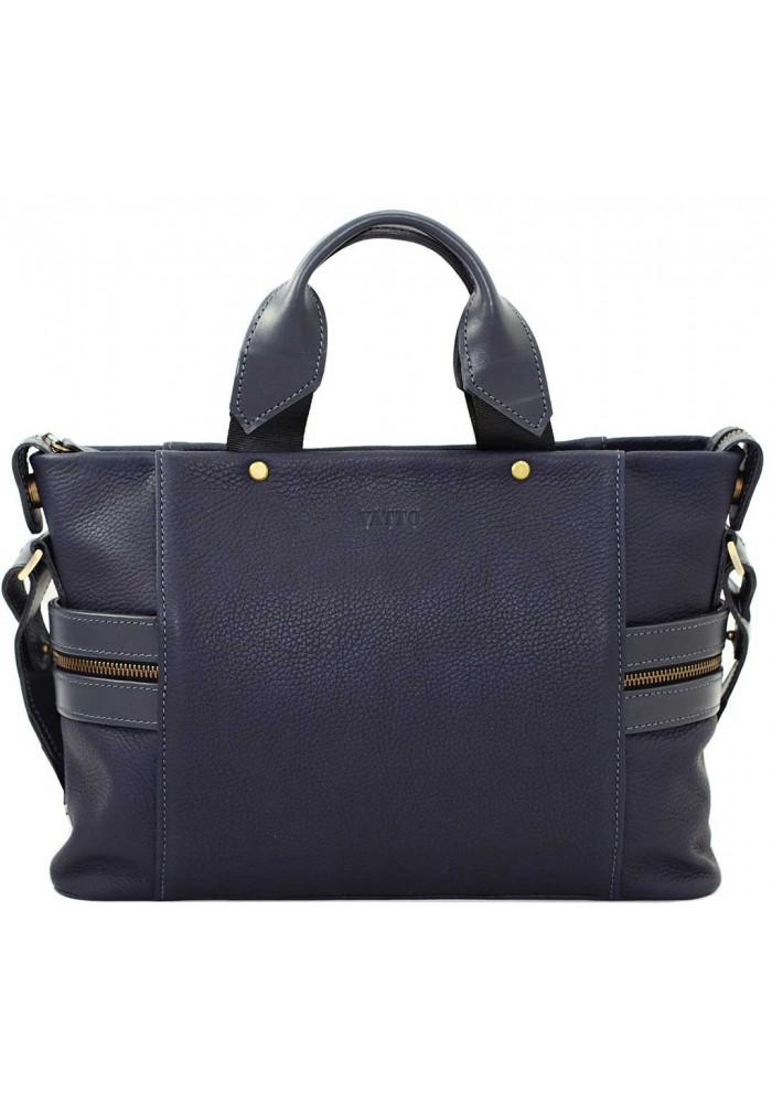 Компактная сумка мужская кожаная с двумя ручками Vatto синяя